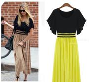 Plus Size Long Maxi Vestidos Fashion Desigual Women Summer Dress 2014 Seamed Dot Floral OL Casual Party Dresses S To XXXXL