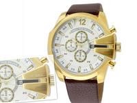 Atmospheric clock GOLD watches top brand fashion luxury sports DZ4283 men's quartz watch,LEATHER military waterproof  Wristwatch
