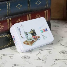 ZAKKA Vintage sewing machine,Little pink flower,london small stationery tin box 3pcs/set,Gifts Mini Jewelry Storage Candy Box