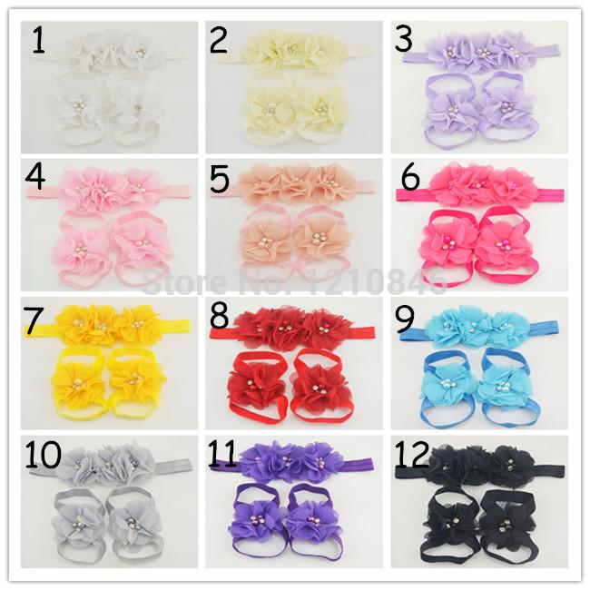 MOQ 1set Pink new baby triple chiffon Flower headband+sandals Barefoot Blooms Sandals kid Infant hair accessories+Footwear(China (Mainland))