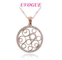 New design top 18k rose gold plated vintage cutout round classic fashion brand Viennois pendant necklace (UVOGUE UN0078)