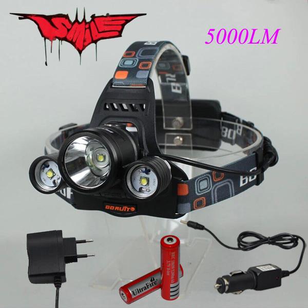 3*t6 5000lm lumière de vélo, xm-l t6 cree led projecteur lampe phare vélo lumières extérieures + 2* 18650 batterie + chargeur + chargeur de voiture