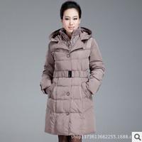 Free shipping European 2014 new women fashion slim medium long hooded plus size autumn winter down parkas jacket coat hot M0356