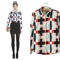 2014 Good Quality Women's Fancy Plaid Print Turn-down Collar Loose Chiffon Blouse Long-sleeve Shirts (S,M,L,XL)