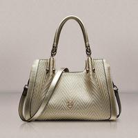New 2015 fashion striped women handbag genuine leather bag hot bolsas brand design shoulder bag water ripple tote crossbody bag