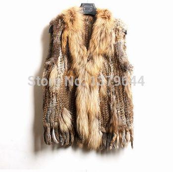 Зима настоящее мех енота воротник женщины трикотаж естественная кроличий мех жилет Gilet пальто