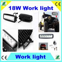 2PCS Rectangle 18W Cree LED Work Light Bar Spot Beam Lamp 4WD 4X4 Off Road Car Truck Boat SUV Free shipping 90Lm/w 10~30V DC