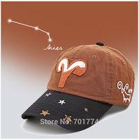 2014 New Fashion Cotton Spring Summer Sport Sun-shading Snapback Hat for Womens Girls Adjustable ARIES  Zodiac Baseball Cap