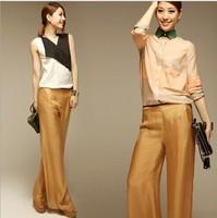 New 2014 Fashion Women's High Quality Real Silk Desigual Pants Women Casual Loose Pants Free Shipping