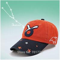 2014 New Fashion Cotton Spring Summer Sport Sun-shading Snapback Hat for Womens Girls Adjustable TAURUS  Zodiac Baseball Cap