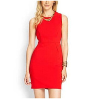 New Fashion Ladies' Elegant brief red OL Dress O neck sleeveless dress causal slim evening party brand designer dress
