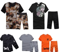Free Shipping 2014 Hot Summer New Brand H Men's Clothing Sets Horse 100% Cotton Male Sport T shirts & shorts set Tracksuit