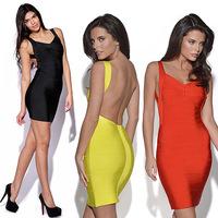 2014 New Summer Women Clothing Sexy Bandage Dress Mini Bodycon Backless Dresses Vestidos, 4 Color, S-XXL