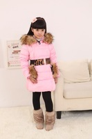 2014 Very thick children girls long duck down jackets  for russian winter kids warm outwear with Leopard belt jackets coats
