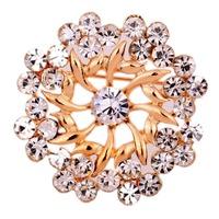 Free Shipping  Decorative Brooch Bridal Flower Rhinestone Wedding Gold  Plated  Brooches Pins