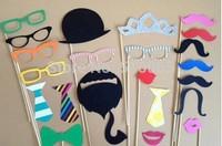 Wedding bride tie hat groom red lip crown, photo props, mustache, tie, paperboard, 22 pcs/set
