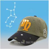 2014 New Fashion Cotton Spring Summer Sport Sun-shading Snapback Hat for Womens Girls Adjustable VIRGO Zodiac Baseball Cap