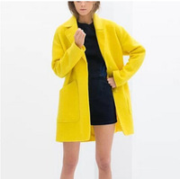 New Fashion Ladies' elegant yellow single breasted woolen coat loose long sleeve pockets outwear casual brand design coats