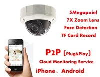 IP Camera 5 Megapixel Zoom,Automatic 7X Zoom Lens,Face Detection,Mobile Phone Viewing,P2P (play & plug) Supported,Lower Price