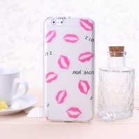 Special Offer TPU Soft  Phone Case With Red Lips Print Pattern For iphone 6 Solid Color  Free Shipping