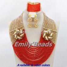 12 Layers Nigerian African Wedding Beads Necklace Bracelet Earrings Jewelry Set Crystal Beads Jewelry Set Free