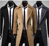 New Brand 2014 Winter Men Long Double Dreasted Trench Coat Moleton Male Overcoat Casaco Masculino Windbreaker For Men Wool