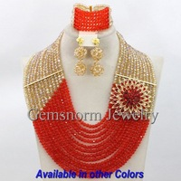 Wonderful African Nigerian Wedding Beads Jewelry Set Gold/Orange Crystal Bridal Jewelry Set Free Shipping GS311