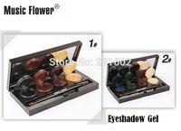 (2pcs/lot) Brand Music Flower 8 color Mineral Pigment Eyeliner eyeshadow gel Cream Palette Smoky Eyes Makeup Set With Brush