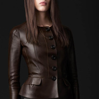 2014 Autumn short slim split leather sheepskin ruffle exquisite button women popular leather jackets