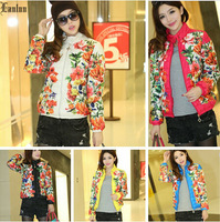 Lanluu 2014 Autumn & Winter Hot Selling Floral Print  Parkas Fashion Down Jackets Women Coats SQ699
