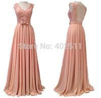 Handmade V-neck Appliques Sleeveless Prom Dresses Sash Bow Ruffle A-line Chiffon Backless Floor-length Long Bridal Dresses