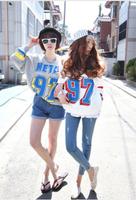 New 2014 fashion girl t shirt women spring loose t-shirt letter print 97 metal  long sleeve sweater