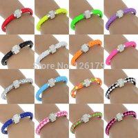 2014 Fashion Crystal Bracelet Leather Wrap Wristband Cuff Punk Magnetic Rhinestone Buckle Bracelet Bangle 16 Color