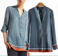 hot sale free shipping  fashion women long sleeve imitated silk print blouses