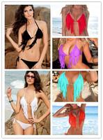 Cheap ! Tassel Push Up Bikini Set  Fringe Bathing Suit With Top and Bottom Beachwear Multicolour  S M L B4017