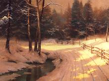 pintura a óleo clássica paisagem impresso inverno vale por thomas kinkade reprodução da pintura a óleo(China (Mainland))