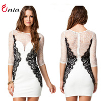 S-XXL new 2014 summer sexy low-cut white lace half sleeve see-through mini dress women casual party dress plus size # 6704