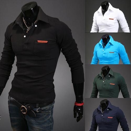 Venda quente novo estilo camisa pólo homens lapela bolso projeto padrão de couro homem camisas de mangas compridas slim fit 5 cores grátis frete