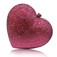 2014 Lady women chain Mini Small Fine Fashion handbag evening bag Rhinestone Heart Luxury elegant socialite Party Queen clutch