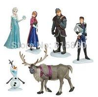 6pcs/lot Top Fashion Frozen Anna Elsa Hans Kristoff Seven Olaf PVC Action Classic Figures Toys Christmas Gift