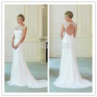 2015 Year Sleeveless Bateau Appliques Simple WEDDING DRESSES Backless A-line Chiffon Floor-length Long Bridal Dresses