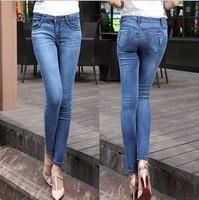New 2014 Autumn Women Fashion Body Jeans Girl Cut Elastic Denim Pants Plus Size Casual Pants Free Shipping