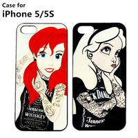 New cases For Apple iphone 5 5S case Tattooed Alice in Wonderland Ariel Little Mermaid Hard cell phone case covers free shipping