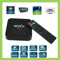 Newest MXIII TV Box Amlogic S802 Quad Core XBMC 2G/8G WiFi 4k HDMI Android 4.4 MX III Media Player better than amlogic MX tv box