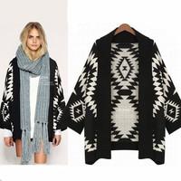 2015 Winter Brand Geometric Vintage Knitted Women Long Cardigan Black White Shawl Sweater Plus Size Loose Coat Knitwear 8781