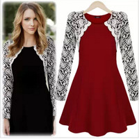 New  Women's Round collar S-XL Lace Novelty Dress thick Above Knee Red/Black Long Sleeve Winter Dresses 2014Autumn/Winter