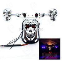 Motorcycle Skeleton Skull Brake Tail Plate Light Red Rear Signal Light Blue Quad ATV for Harley Suzuki #3726
