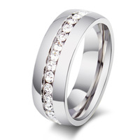 Promotion crystal rings for women weddings & events stainless steel jewelry 2014 fashion