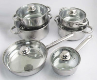 FREE SHIPPING STAINLESS STEEL 12PCS Cooking pans SET inox cookware set kitchenware cooker set pots simple pans