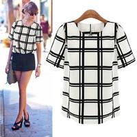 Fashion Women 2014 Ladies Sheer Blouses O-Neck Black White Plaid Chiffon Shirt Tops Wild Roupas Femininas plus size clothing